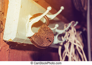 padlock rusty old hanging on the hanger