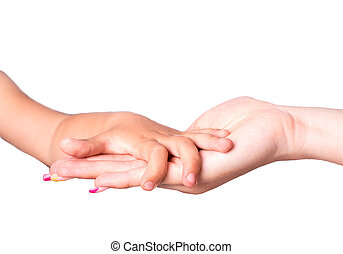 Mother child hand isolated on white background