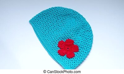 Girls Crochet hat - Blue turquoise crochet hat with flowers