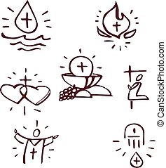 Sacraments - Hand drawn vector illustration or drawing of...