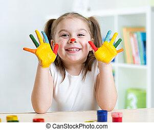 ペイントされた, 手, 顔, 子供, 肖像画, 女の子