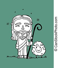 esus Good Shepherd b - Hand drawn vector illustration or...
