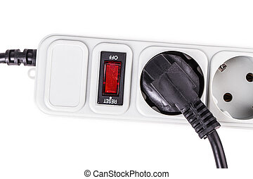 surge protector plug Isolated on white background