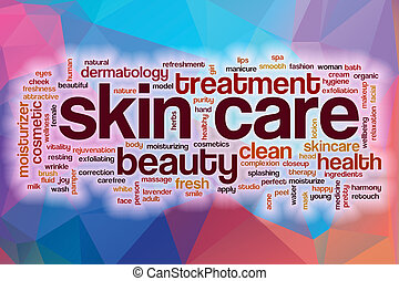 Skin care concept word cloud on a low poly background with...