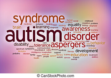 Autism disability concept word cloud on a blurred background