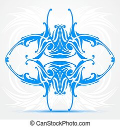 Blue abstract tattoo - On a creative light background A...