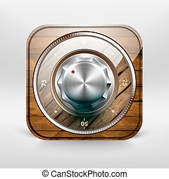 Safe with wooden texture - Vector illustration