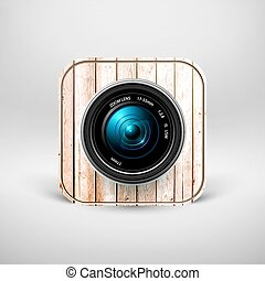 Camera icon - With wooden texture. Vector illustration