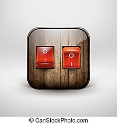 Icon, wooden double switch. - Vector illustration
