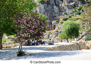 The rock-cut tombs in Myra and Bougainvillea tree, Antalya,...