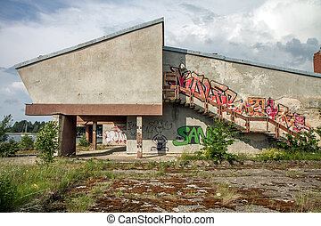 abandoned former sports complex building - Destroyed and...