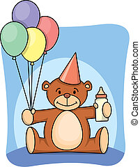 1st birthday - Teddy bear celebrating 1st birthday
