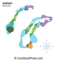 Abstract vector color map of Norway with transparent paint...