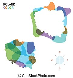 Abstract vector color map of Poland with transparent paint...