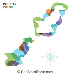 Abstract vector color map of Pakistan with transparent paint...