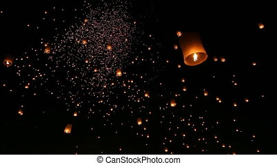 Many Sky Fire Lanterns Floating - Loi Krathong Festival And...