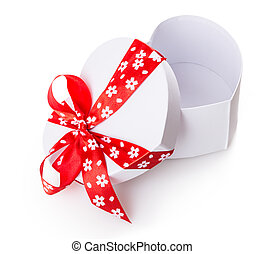 white gift heart box Isolated on white background
