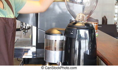 Barista Poured Coffee Beans In To Grinder, Stock Video