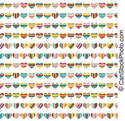 Seamless pattern made of small bright hearts