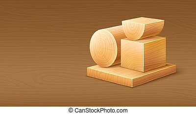 Woodworks wooden workpieces blocks of various forms. Eps10...