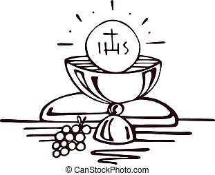 Eucharist - Hand drawn vector illustration or drawing of a