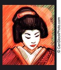 Geisha - Hand drawn vector illustration or drawing of a...