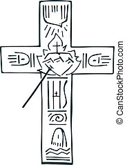 Cross of life b - Hand drawn vector illustration or drawing...