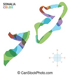 Abstract vector color map of Somalia with transparent paint...