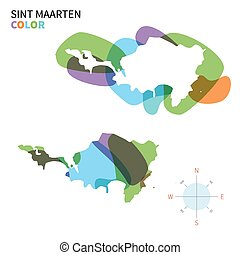 Abstract vector color map of Sint Maarten