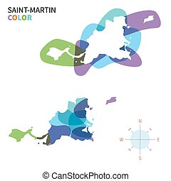 Abstract vector color map of Saint-Martin with transparent...