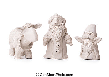 sheep, Santa Claus, elf toy clay Isolated on white...