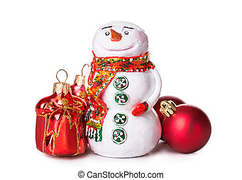 Christmas ball snowman Isolated on white background