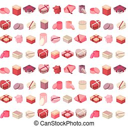 Seamless pattern with different gift boxes