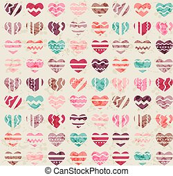 Seamless vintage pattern with hearts - Seamless vintage...