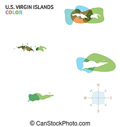 Abstract vector color map of U.S. Virgin Islands with...