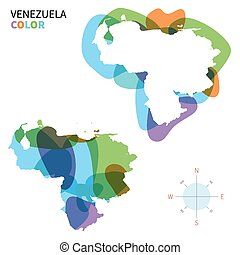 Abstract vector color map of Venezuela with transparent...