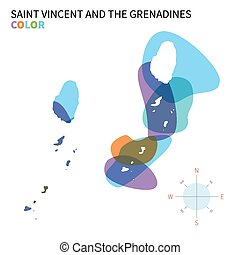 Abstract vector color map of Saint Vincent and the...