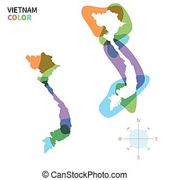 Abstract vector color map of Vietnam with transparent paint...