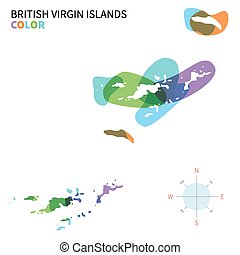 Abstract vector color map of British Virgin Islands with...