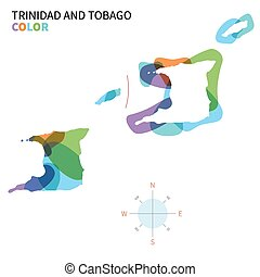 Abstract vector color map of Trinidad and Tobago with...