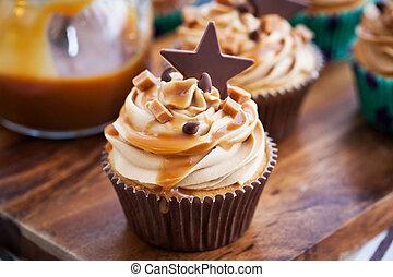 crema,  Cupcakes, Caramelo, queso,  chocolate