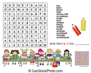 crossword - Illustration with game for children : crossword...