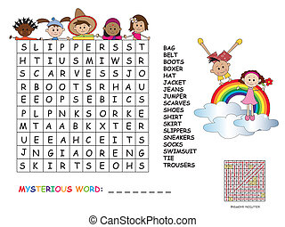 crossword - Illustration with game for children : crossword