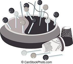 pincushion, pins, thread a needle and thimbles