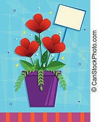 Red Flowers - Red flowers in a purple pot in front of a blue...