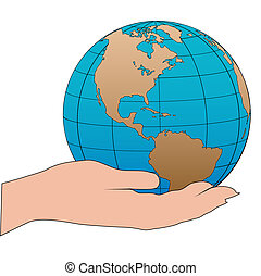 Cartoon hand holds a western hemisphere globe - A cartoon...