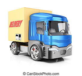 Cargo truck isolated on white background. 3d render