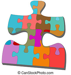 Jigsaw pieces within one colorful puzzling puzzle.