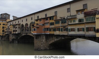 Ponte Vecchio in Winter - The Medieval Old Bridge over the...