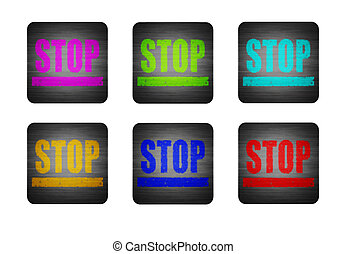 illustration icon with the word STOP - Several different...